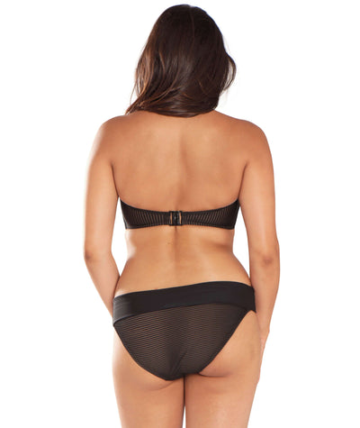 Curvy Kate Onyx Fold Over Brief - Black Stripe - Model - Back