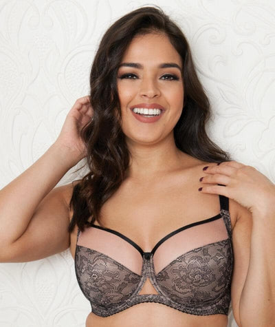 Curvy Kate Victory Amore Balcony Bra - Black/Rose - Front