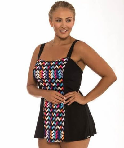 Capriosca Zig Zag Wide Strap Swim Dress Swim