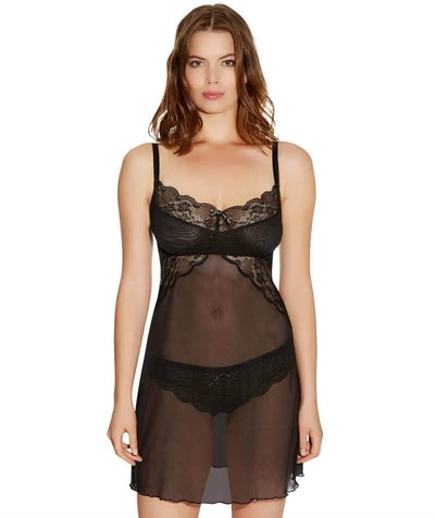 Freya Fancies F-G Cup Sheer Chemise Dress - Black - Front