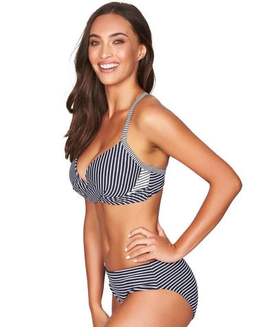 Sea Level Paloma Stripe Mid Bikini Brief - Navy/White Swim