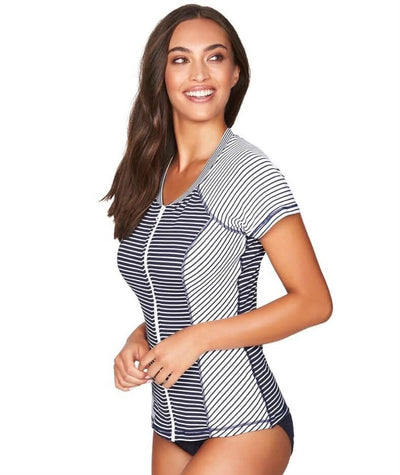 Sea Level Paloma Stripe Short Sleeved Rash Vest - Full Zipper - Navy/White - Side