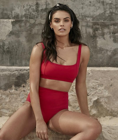 Sea Level Riviera Rib Square Neck A-D Cup Bikini Top - Red Swim
