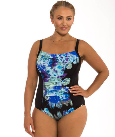 Capriosca Midnight Floral Panelled One Piece