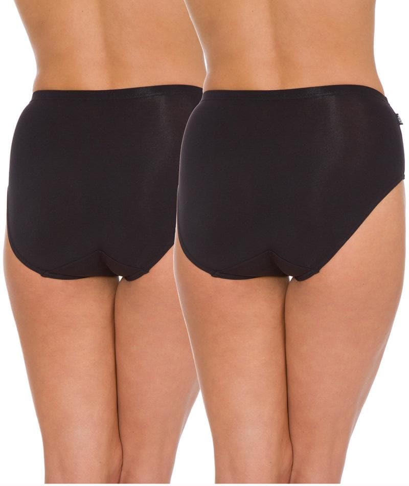 Triumph Sloggi Hikini 2 Pack Midi Brief - Black - Front View