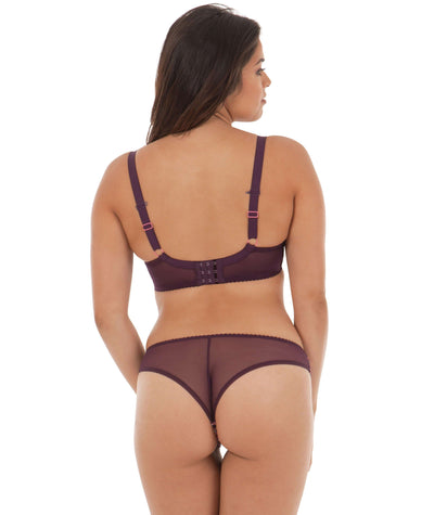 Curvy Kate Smoothie Soul Brazilian Brief - Mulberry Print - Model - Back