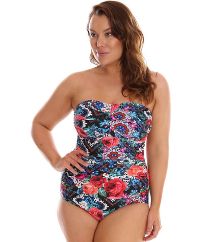 "Capriosca Folklore Roses Bandeau One Piece ""front"""