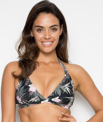 Nip Tuck Halter Bikini Top-Removable Cups - Fern Gully - Front