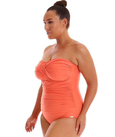 "Capriosca Twist Front Bandeau One Piece - Coral ""Side"""