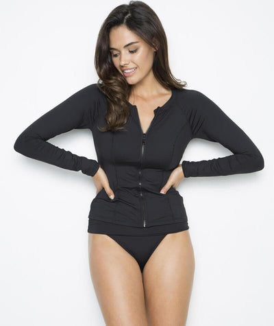 Nip Tuck Plains SPF 50+ Long Sleeve Rash Vest - Full Zipper - Black Swim 8