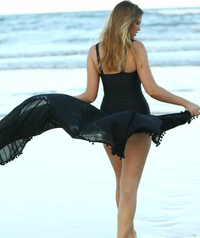 Capriosca Beach Cover Up Sarong - Black - Model