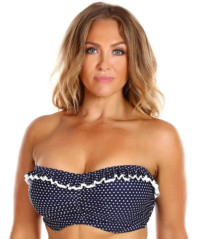 Capriosca Frilled Bandeau DD-E Cup Bikini Top - Navy and White Dots - Front