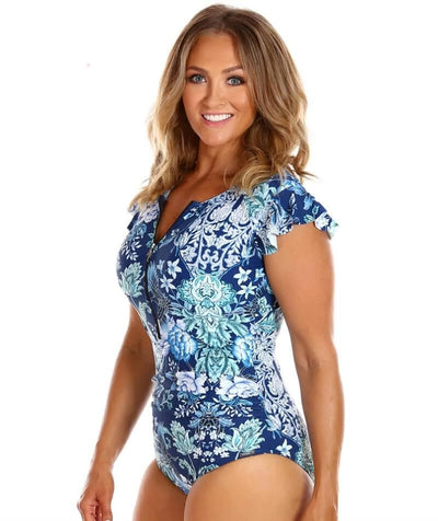 Capriosca Frill Sleeve One Piece Swimsuit - Crane Birds - Side