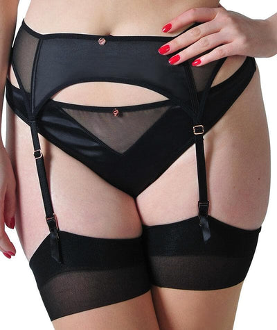 Scantilly Peek A Boo Suspender Belt - Black Knickers S