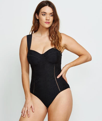 Robyn Lawley Marilyn D/DD Cup One Piece - Black Lace - Front