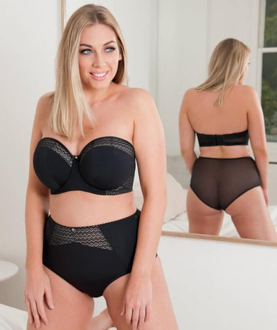 Curvy Kate Deluxe High Waist Brief - Black/Almond - Model - Front