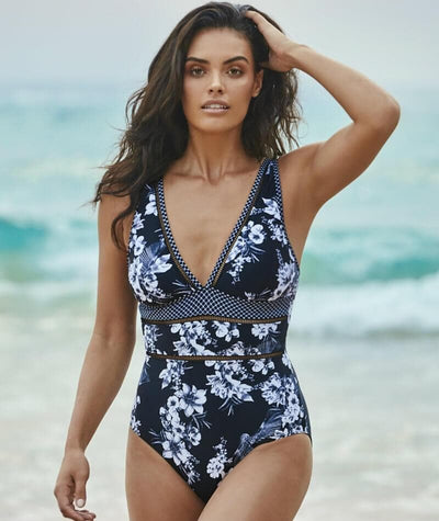Sea Level Tropical Shadow Spliced B-D Cup One Piece Swimsuit - Black - Model - 2