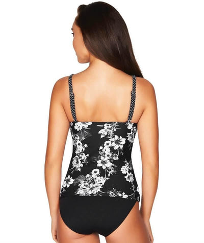 Sea Level Tropical Shadow Tank Style D-DD Cup Singlet Top - Black Swim