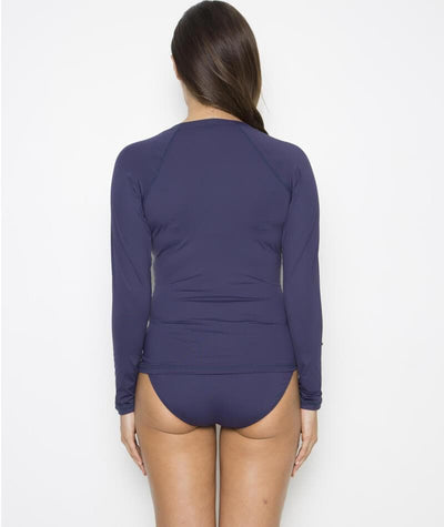 Nip Tuck Plains SPF 50+ Long Sleeve Rash Vest - Full Zipper - Navy Swim