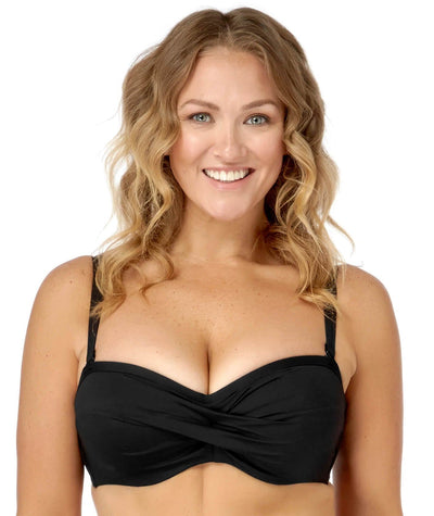 Artesands Plains Twist Front D / DD Cup Underwire Bikini Top - Black Swim 14