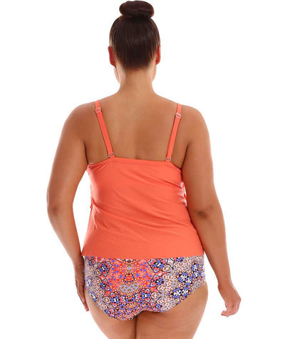 "Capriosca 3 Tier Tankini Top - Coral ""BacK"""