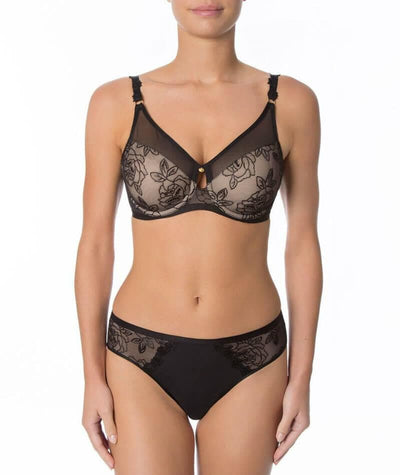 Florale Wild Rose Minimiser Bra - Black - Model