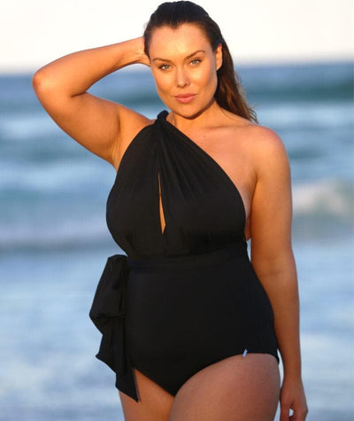 Capriosca Wrap Tie One Piece - Black Swim