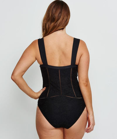Robyn Lawley Marilyn D/DD Cup One Piece - Black Lace - Back