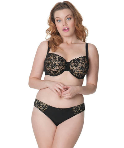 Curvy Kate Vixen Balcony Bra - Black/Almond - Model - Front