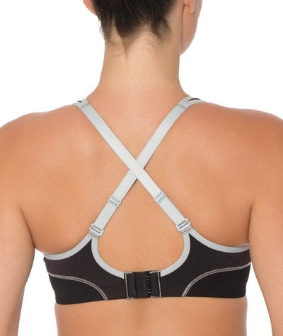 Triumph Triaction Performance Sports Bra - Black / Silver - Crossover - Back