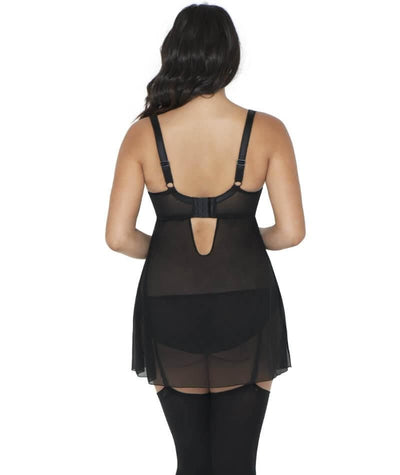 Curvy Kate Starlight Padded Balcony Babydoll - Black/Sangria - Back