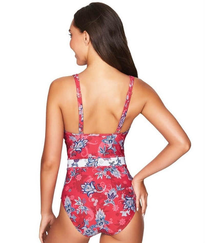 Sea Level Paisley Floral Spliced B-D Cup One Piece Swimsuit - Red - Back