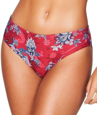 Sea Level Paisley Floral Mid Bikini Brief - Red Swim 8
