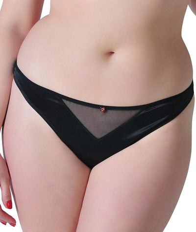 Scantilly Peek A Boo Thong - Black - Front