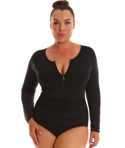 Capriosca Long Sleeve Zip One Piece - Black Swim 10