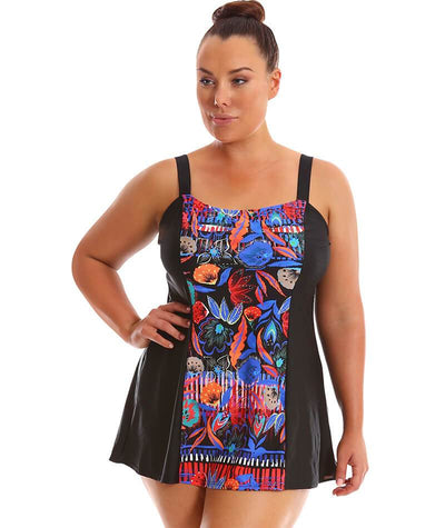 "Capriosca Wide Strap Swim Dress Boho Folk ""Front"""