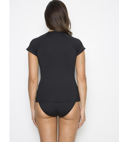 Nip Tuck Multifit Short Sleeve Rash Vest- Black - Back