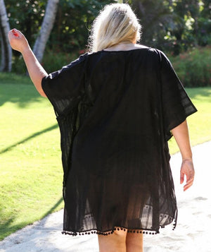 Capriosca Cotton Kaftan - Black Swim OS