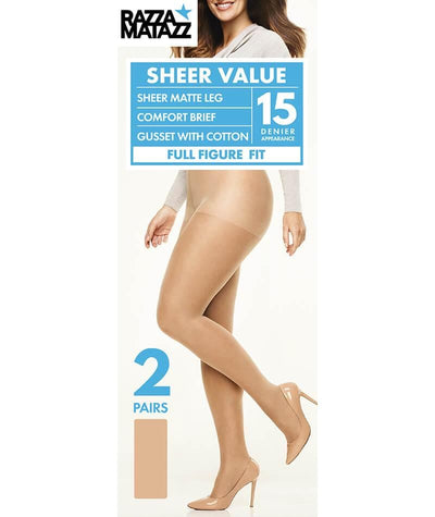 Razzamatazz Full Figure Fit Sheer Value Comfort Brief - 2 Pack -Natural Hosiery 1