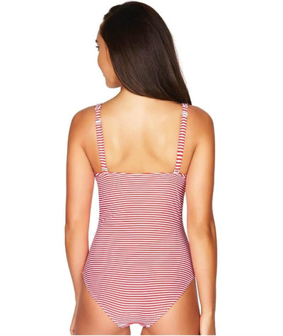 Sea Level Sorrento Stripe Cross Front B-DD Cup One Piece Swimsuit - Red Swim