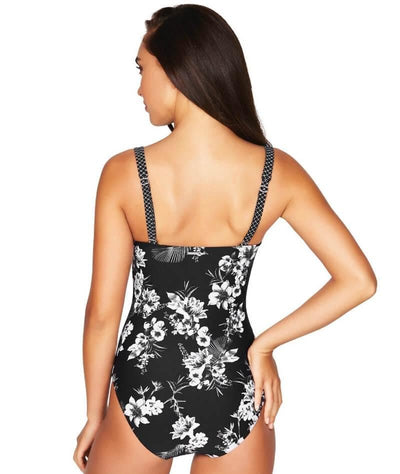 Sea Level Tropical Shadow Twist Front B-DD Cup One Piece Swimsuit - Black - Back