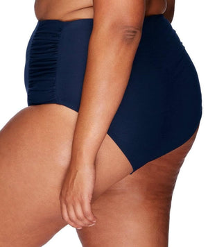 Artesands Rouched Side High Waist Brief - Navy - Front