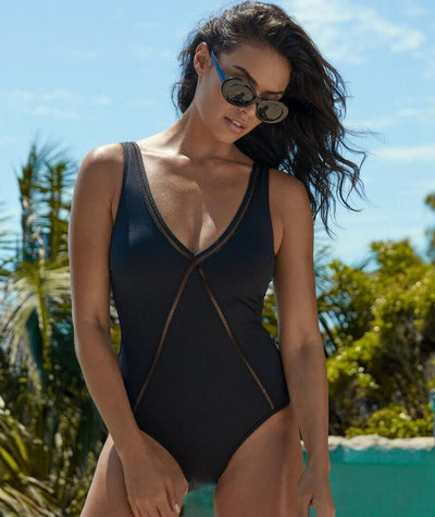 Sea Level Essentials V Style B-DD Cup Maillot One Piece Swimsuit - Black - Model