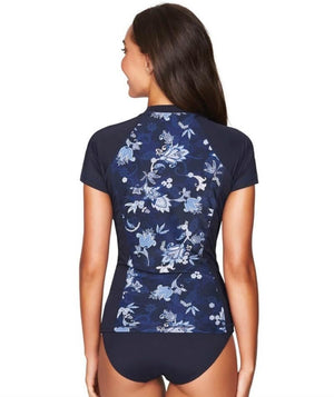 Sea Level Paisley Floral Short Sleeved Rash Vest - Full Zipper - Navy Swim 8
