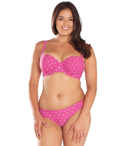 Curvy Kate Revive Padded Balcony Bikini - Pink Print - Model - Front - 1
