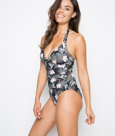 Nip Tuck Halter One Piece-Removable Cups - Fern Gully