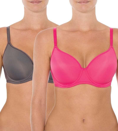 Triumph Gorgeous Luxury T-Shirt 2 Pack Bra - Mud Gray / Raspberry Ripple - Front View