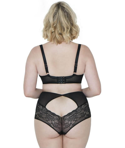 Scantilly Peek-A-Boo Lace High Waist Brief - Black - Model - Back
