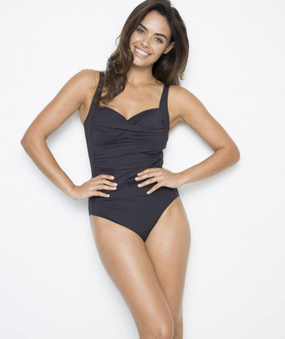 Nip Tuck Twist Front Multifit C-E Cup Plains One Piece - Black Swim
