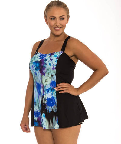 "Capriosca Midnight Floral Wide Strap Swim Dress ""side view"""